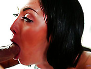 Oiled Up Brunette Sweetie Sucks Sugary Dick Of Her Massage Thera