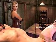 Hot Blonde Brutal Mistress Whips Slave Spanks Him And Fucks Him