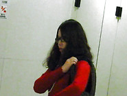 Nerdy And Straight Japanese Babe Is Peeing In The Public Toilet