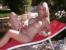 Naked Babe And A Champagne Bottle Have Fun