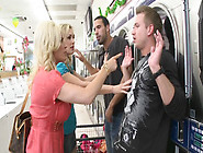 Two Young Boys Get Fucked By Horny Milfs In The Public Laundry