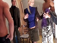 Naive Blond Teen Dulsineya Gives Quick Blowjob In Staircase