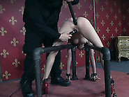 Pale Skin Nude Lady In Red Stiletto Shackled And Buttfucked