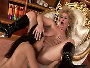 Bitchie Blond Haired Old Bitch Effie Makes Kinky Brunette Eat He
