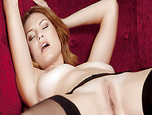 Lusty Lady In Stockings Teases Her Clit