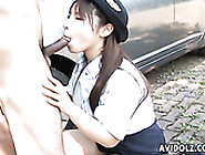 Horn-Mad Dude Gets Nice Blowjob Performed By Japanese Cop Momo A