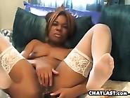 Horny Ebony Cam Girl Masturbates