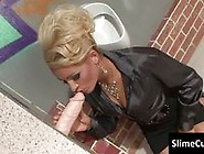 Hot Horny Blonde Slut Blows A Big Cock Dildo Through Glory Hole