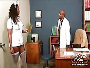 Gorgeous Ebony Nurse Takes A Patients Cum On Her Booty