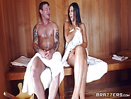 The Hot Sauna Leads This Curvy Ass Wife To Cheat By Sucking Cock