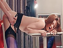 Two Sexy Lesbians In High Heels,  Mia And Merry Pie Are Having A