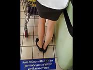 Sexy Shopper In Shiny Tan Pantyhose