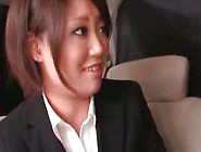 Sexy Japanese Office Girl Is Sucking Cock In The Car