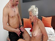 A Granny Is Getting Her Pussy Stretched Wide Open By A Young Coc