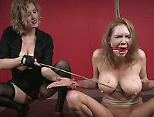 Busty White Blonde Milf Bound And Caned Nude By Dominant Mistres