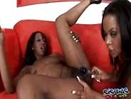 Ebony Lesbian Sistas Licking Dildo On Black Pussies