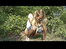 Hairy Teen Having Her Pee Outdoor