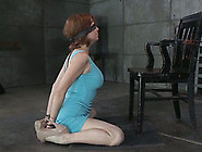 Blindfolded Humble Redhead Stands On Knees And Sucks Master's Di