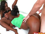 Two Ebony Girls Love Tag Team Fucking A Nice Sized Cock