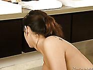 Slutty Brunette Sex Doll Sucks Big Black Sausage In Massage Parl