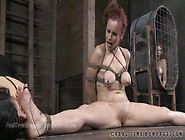Busty Bella Rossi Tied With Legs Spread And Nipples Clamped