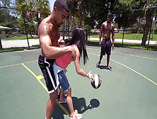 Michelle Martinez Playing Basketball With Three Black Muscle Dud