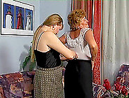 Naughty Lesbian Granny And Blonde Milf Dildoing Each Other