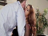 A Brunette With Long Hair Is Bending Over To Be Fucked Hard.
