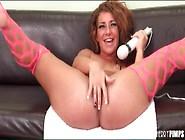 Hot Pink Stockings On Sexy Masturbating Girl