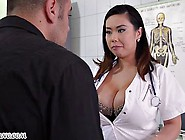 Chubby Asian Nurse With Big Natural Tits Threesome
