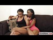 Horny Black Lesbians Using Huge Dildo For Pleasure