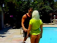 Curvy Babe With A Round Ass Gets On Top And Rides Him Poolside