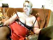 Fat Wife Touching Her Semi-Hairy Pussy