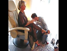 Dominant German Mistress Makes Her Horny Male Foot Slave Cum On