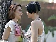 Slender Lesbians Have Sex In A Public Park