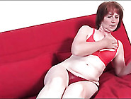 Old Lady Models Her Red Panties For You