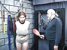 Lovely Young Redhead Is Bound In Basement And Whipped To Bruisin