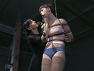 Short Haired Slender White Girl Tied Up And Undressed