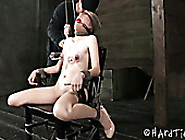 Slim Chick With Ball Gag In Her Mouth Hole Gets Her Tits Pumped