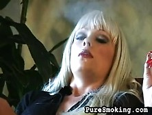 Blonde Bombshell Layla Jade Loves To Smoke Cigarettes As She Rub