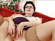 Chubby Mommy In Glasses Masturbates Solo