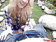 Cock Stroking Babe Gives Bj Outdoors