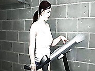 My Pallid Horny Gf Strips While Training On Our Jogging Machine