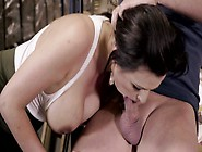 A Pale Babe With Large Tits Is In The Warehouse On Top Of A Cock