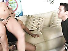 Nasty Cuckold Watches His Bosomy Fair Haired Bitch Sucking Black