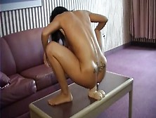 Petite Brunette Kream Squirting From A Brutal Dildo In Her Pussy