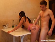 Bent Over The Kitchen Table For Teen Fucking