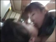 2 Asian Girls Rubbing Their Pussies In Scissor Kissing On The Ma