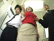 Japanese Ohura Anna's Big Tits Groped On Train By Two Men -