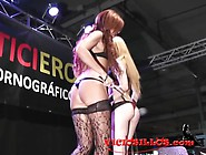 Chiki Dulce,  Bianca Resa Y Soraya Wells Lesbian Fuck On Stage By